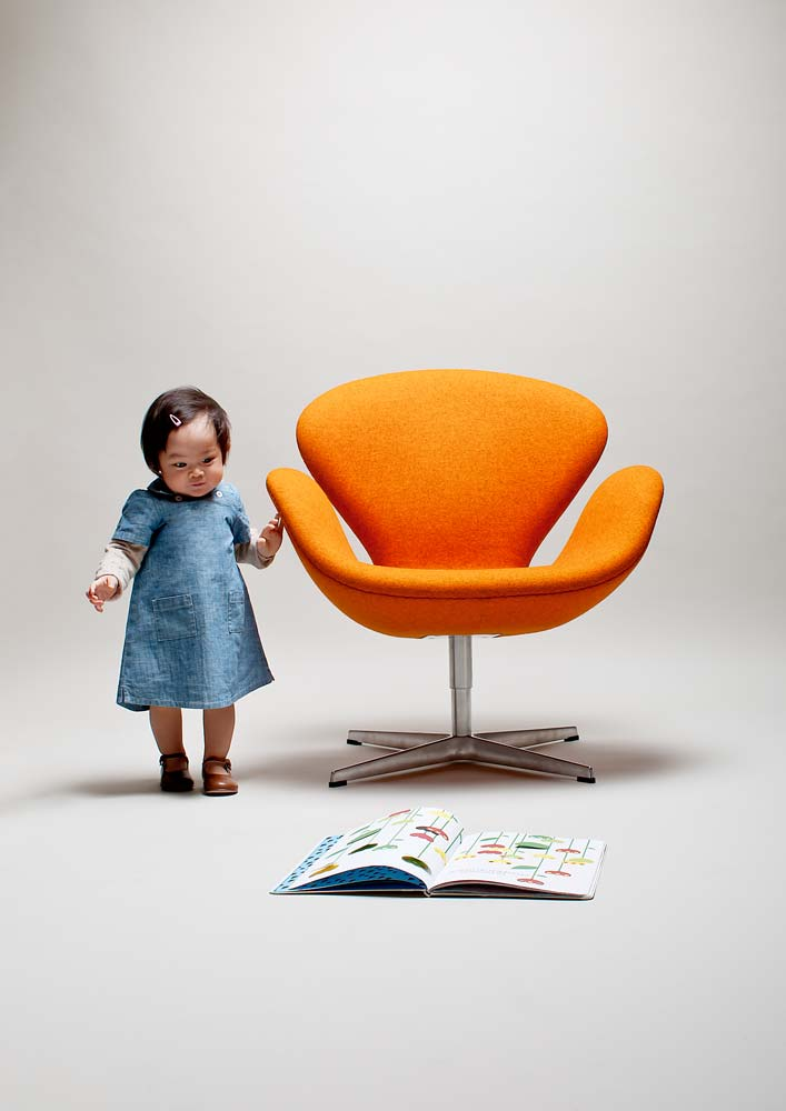 Swan-Chair avec enfant
